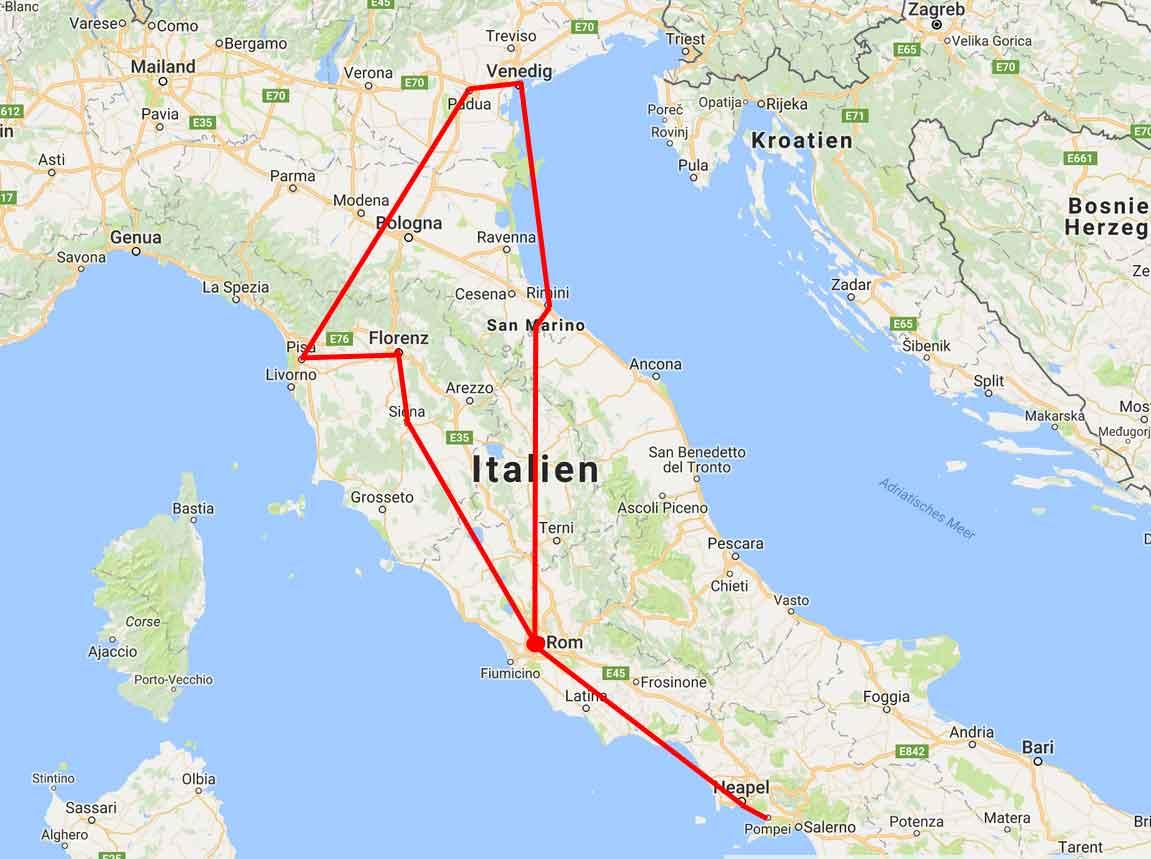 карта тура Классическая Италия