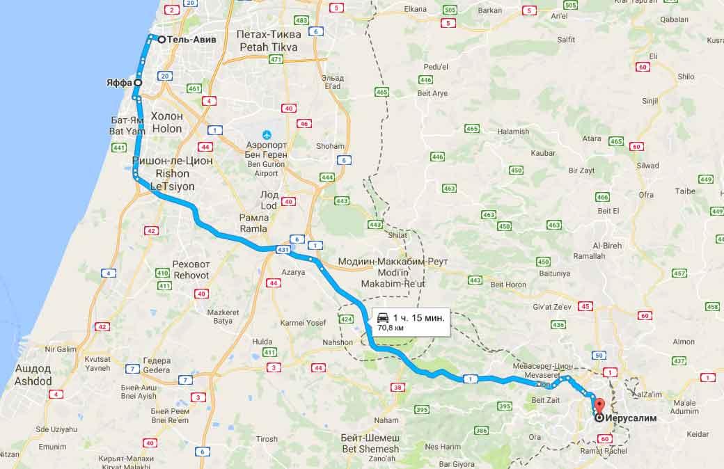 карта тура Выходной в Израиле