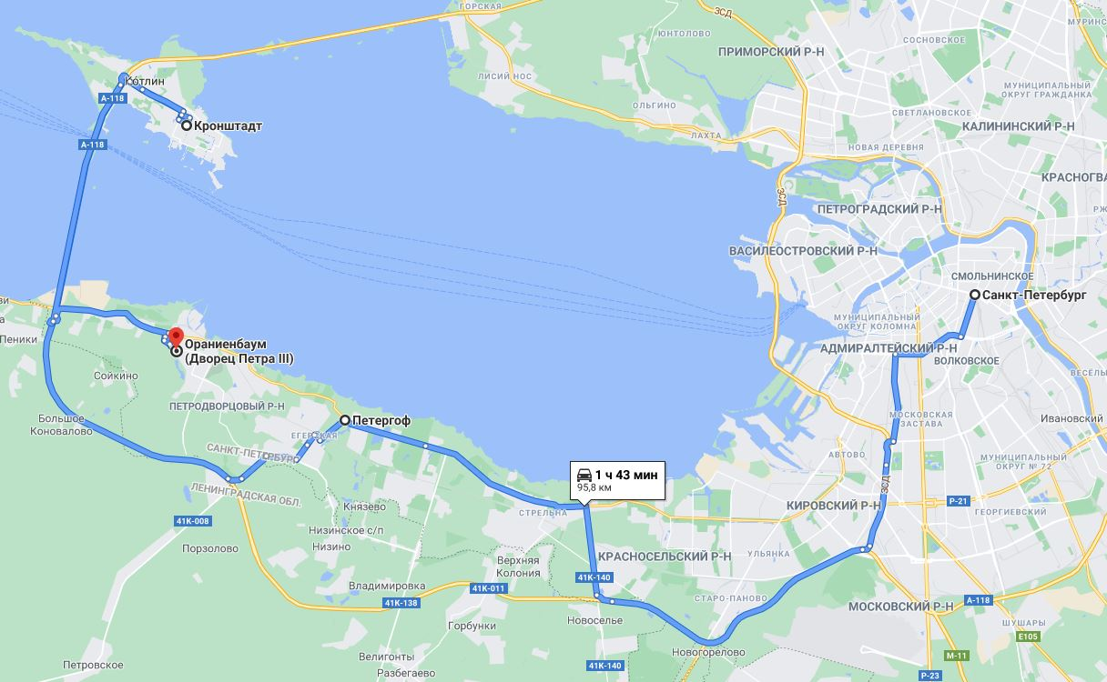 карта тура Петергофские каникулы