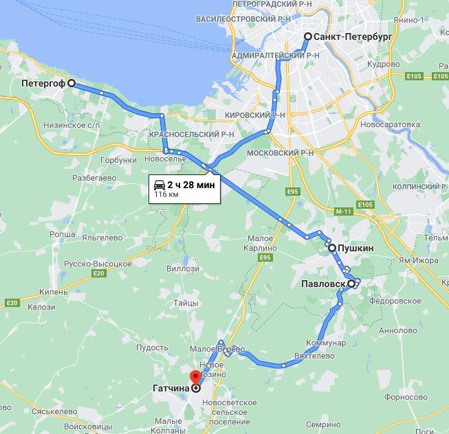карта тура Большое путешествие в Петербург 10 (лето)