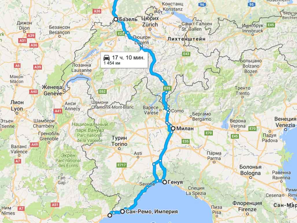 карта тура Южные этюды (Богемная Европа)