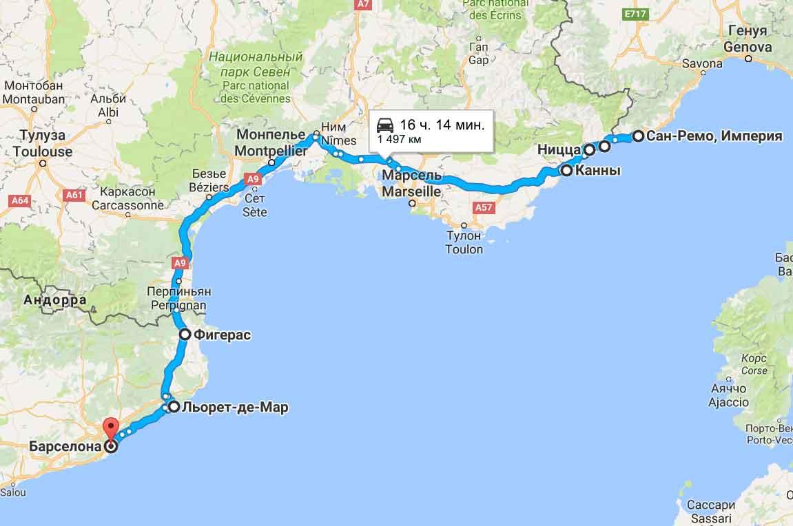 карта тура Блиц Франция-Италия