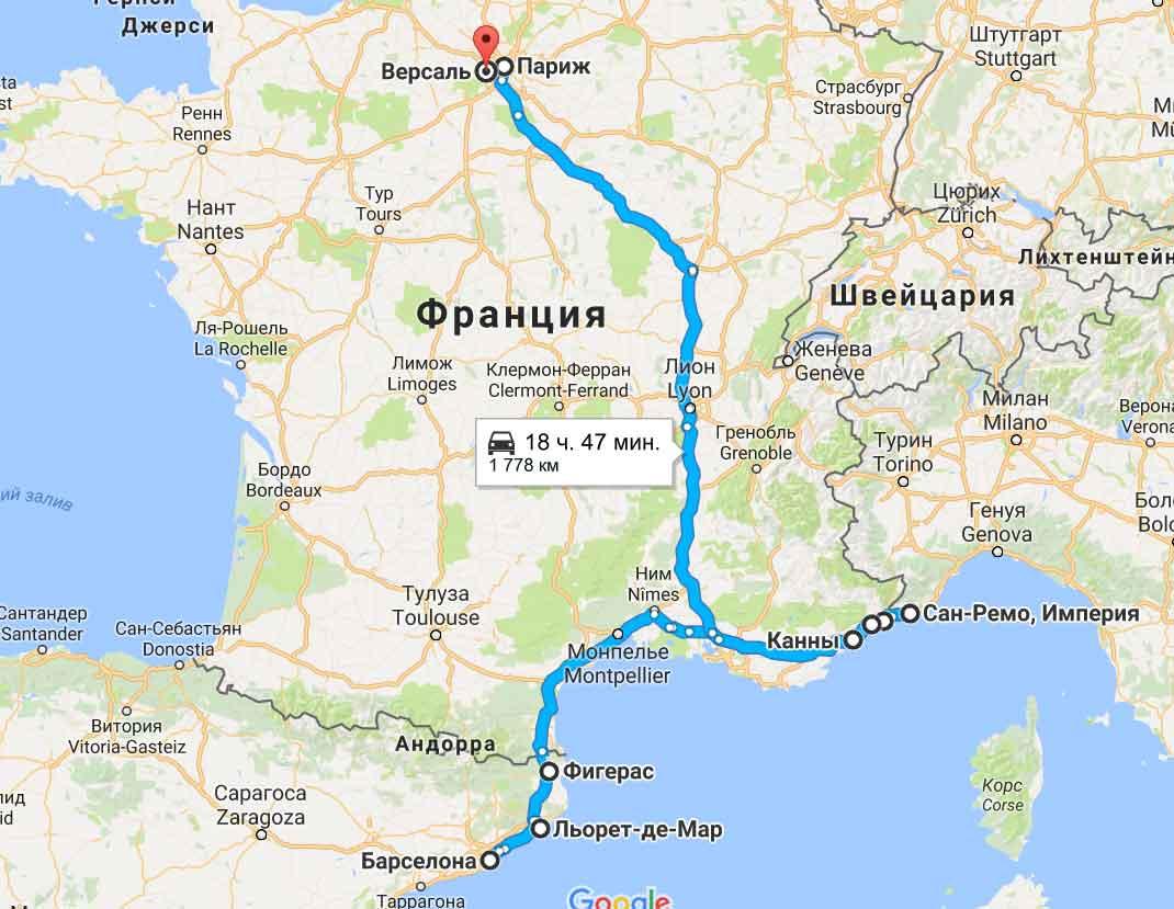 карта тура Средиземноморская сказка + Париж 12