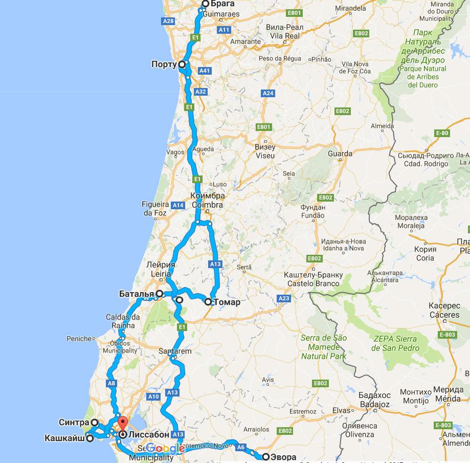 карта тура Каникулы в Португалии - всё самое интересное
