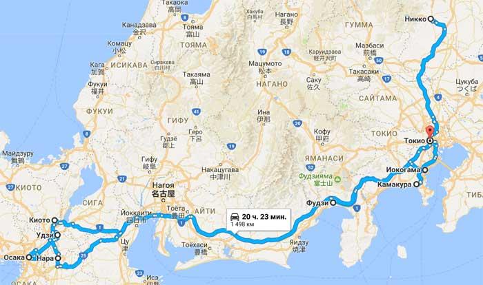 карта тура Клёны Момидзи - алая осень в Японии