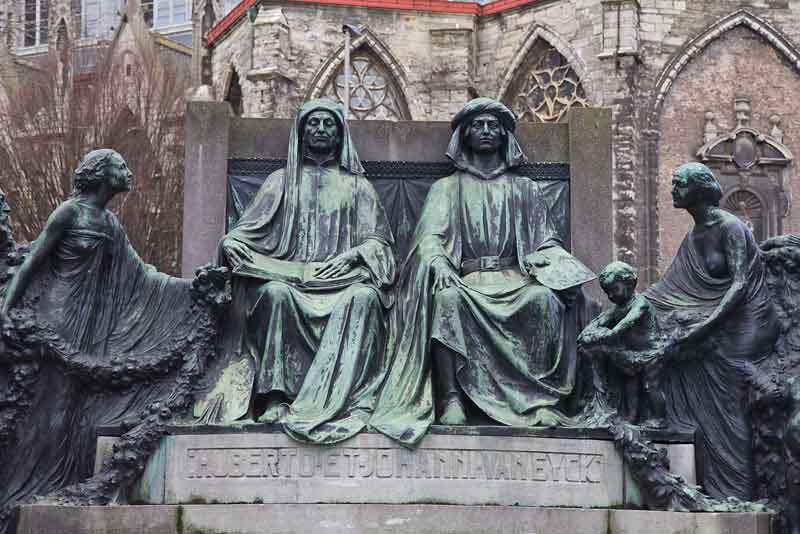 Памятник братьям ван Эйк, художники XIV-XV веков