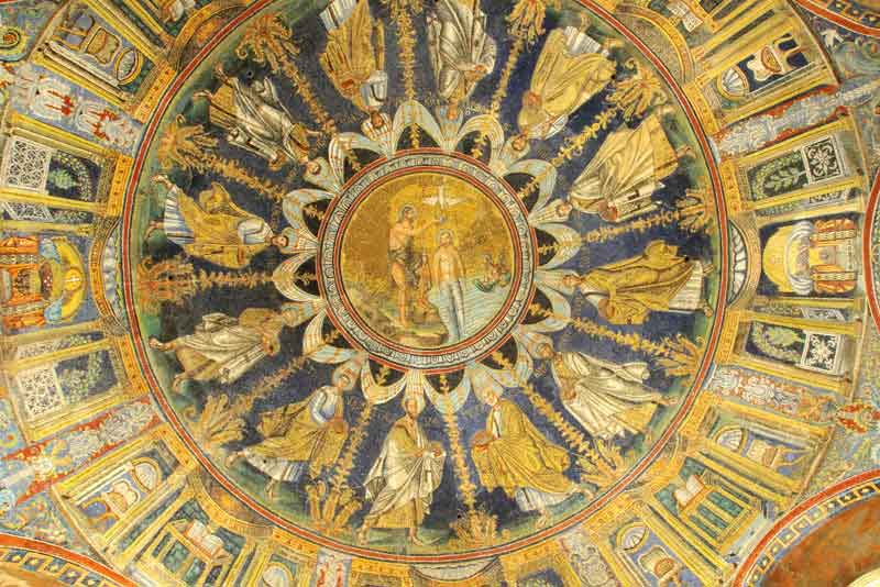 Крещение Христа, роспись 6 века